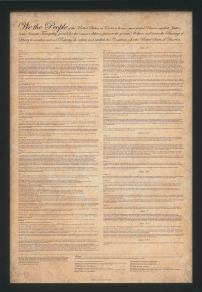 U.S. Constitution Poster - Parchment and Black Frame
