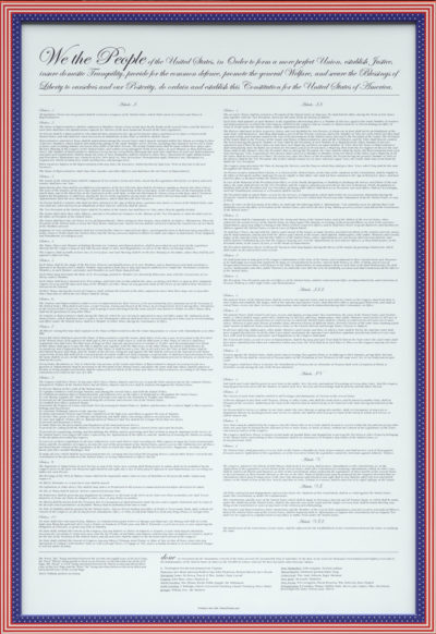 U.S. Constitution Poster - Contemporary on White Paper