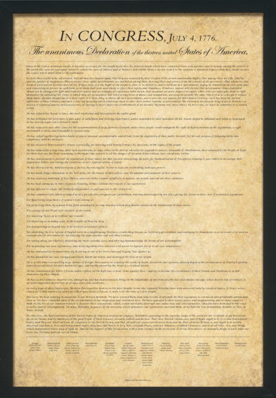 U.S. Declaration of Independence Poster on parchment background framed with black frame