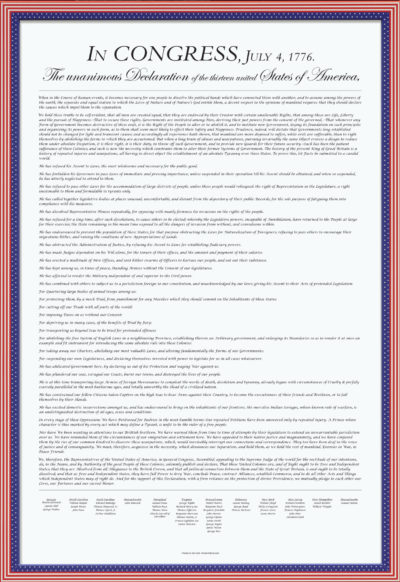U.S. Declaration of Independence poster that is legible in black and white